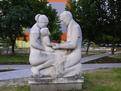 Parents with_child_Statue_Hrobakova_street_Bratislava